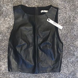 Leather Crop Top - Mesh Back
